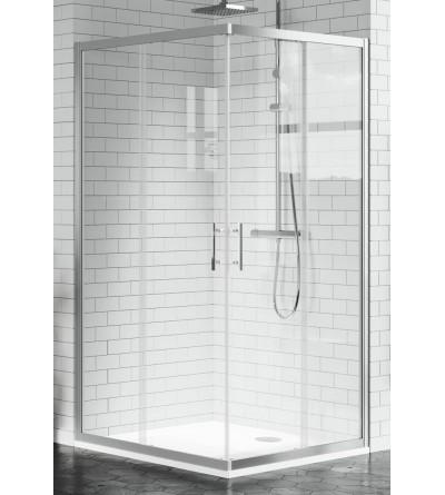 Corner shower enclosure with 2 sliding doors and 2 fixed doors Novellini Zephyros A