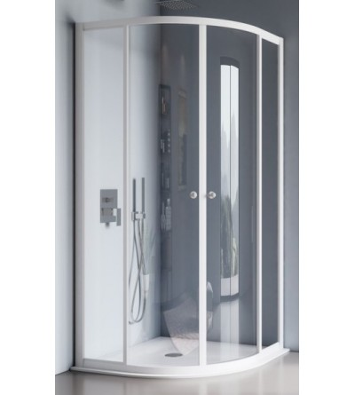 Rounded rectangular shower enclosure opening sliding doors Samo America B6893
