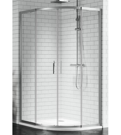 Semicircular corner shower enclosure 2 sliding and 2 fixed doors Novellini Zephyros R