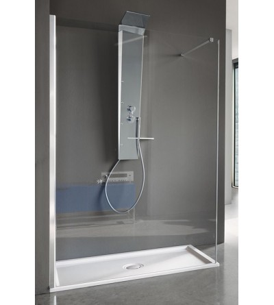 Transparent glass shower screen with aluminum profiles Samo Open B4001