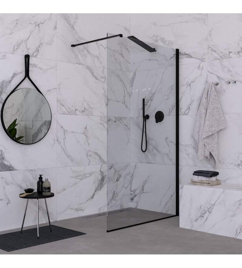 Parete doccia fissa 140 cm vetro trasparente finitura nero opaco Ponsi Rex BBREXKWALK0014
