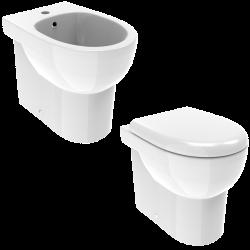 Composizione wc e bidet a...