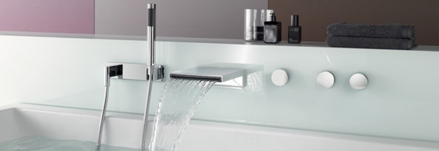 Drop-down tub taps